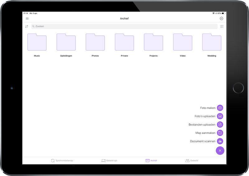 Gesynchroniseerde bestanden op tablet